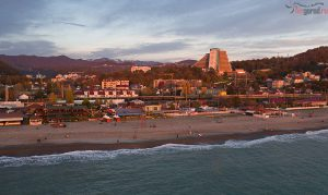 Дагомыс на закате. Вид со стороны моря. аэросъемка