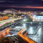 Олимпийский парк на закате. Сочи. Аэросъемка