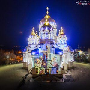 Новочеркасский собор в пасхальную ночь. Проекция, подсветка