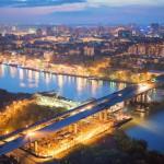 Ростов-на-Дону. Вид на город с Левого берега.с высоты в 100 м. Аэросъемка