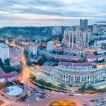 Сочк. Кубанская площадь. На закате. Вид а отель Звездный. Аэросъемка