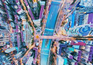 Сочк. Кубанская площадь. На закате. Вид вниз. Аэросъемка