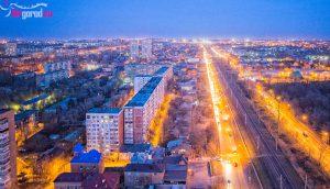 Ростов, Нансена в сторону Сельмаша, на закате, Аэросъемка