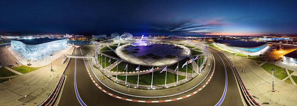 Олимпийский парк ночью с воздуха. Виртуальная панорама