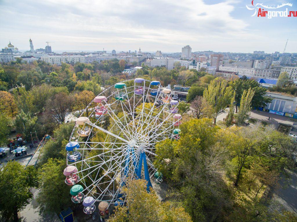Колесо в парке Горького. Аэросъемка