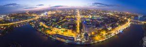 Панорама Ростова на закате летом