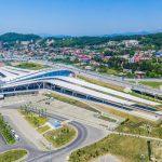 Железнодорожный вокзал в Олимпийском парке. Аэросъемка