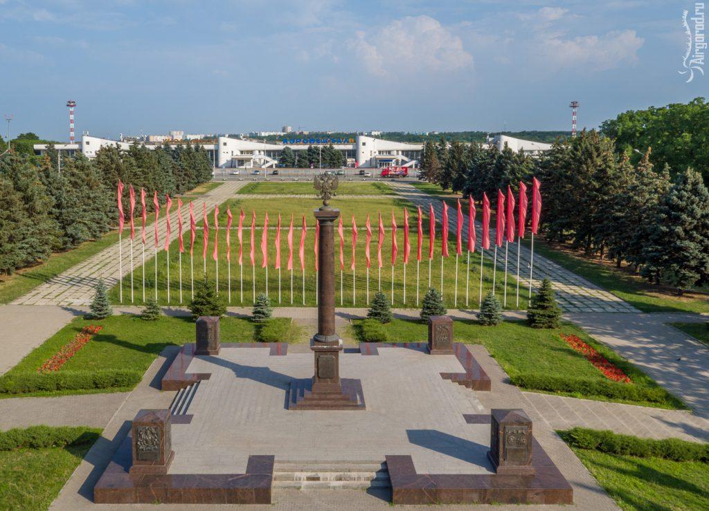 Стела и площадь Воинской Славы. Ростовский аэропорт 2016. Аэросъемка