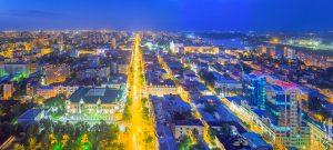 Центр Ростова в сумерках и вечерних огнях