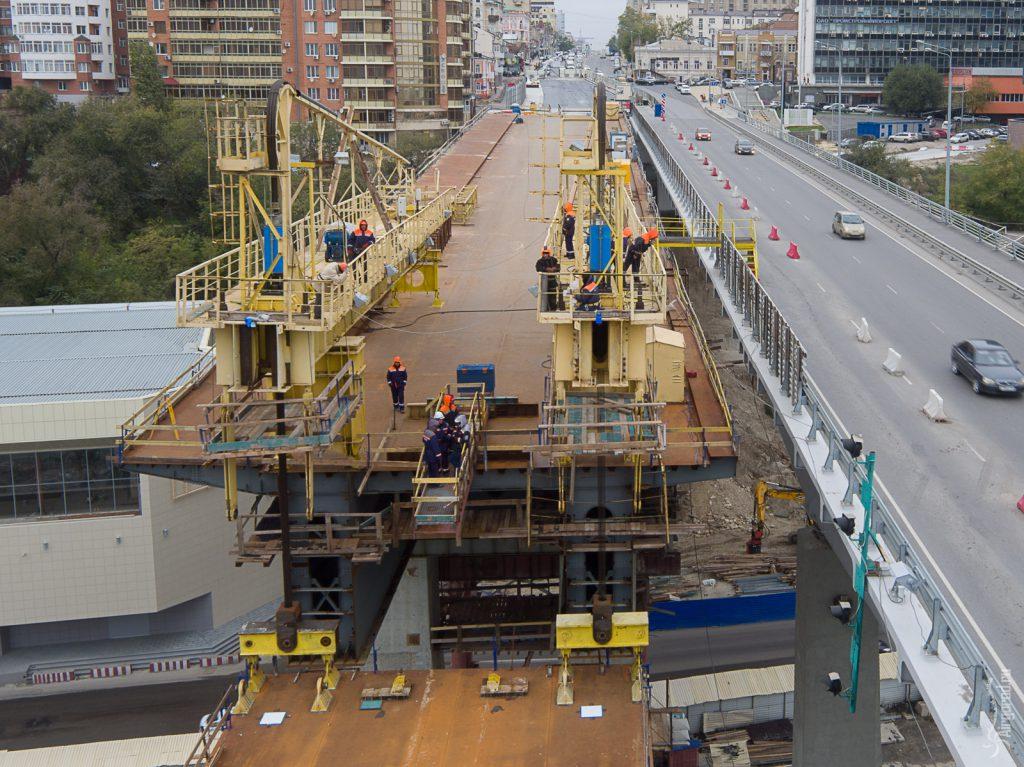 Ворошиловский мост. Установка второго пролёта