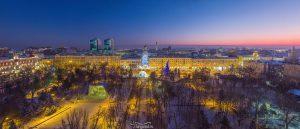 Парк Горького в снегу. Снег в Ростове. Ростов-на-Дону с высоты. Зима 2016