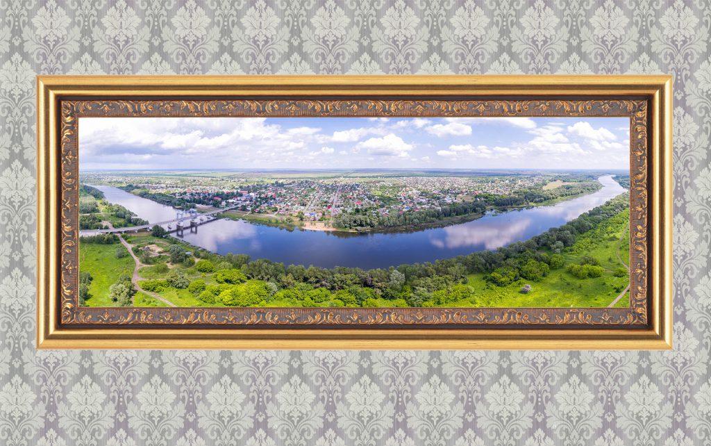 Фотокартина в багете. Станица Казанская. Панорама