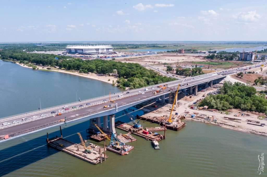 Строительство Ворошиловского моста. Аэросъемка 09.06.2017