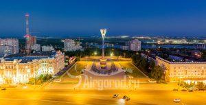 Театральная площадь в ночном освещении. Панорама. Код товара: DJI_0163